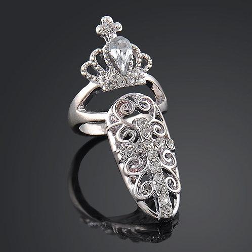Crown Crystal Finger Nail Art Ring