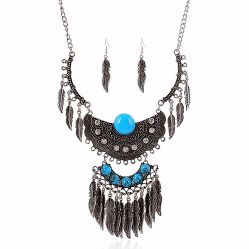 Boho Silver Leaf Earrings/Feather Turquois Necklac