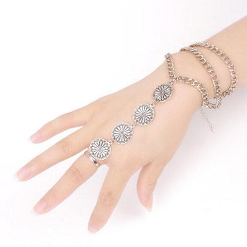 Ethnic Coin Carve Flower Finger Ring Bracelet