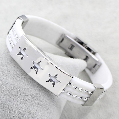 White Silicone Stainless Steel Shining Star Bracelet