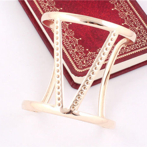 "Elegant Gold Plated ""V"" Shape Bangle"