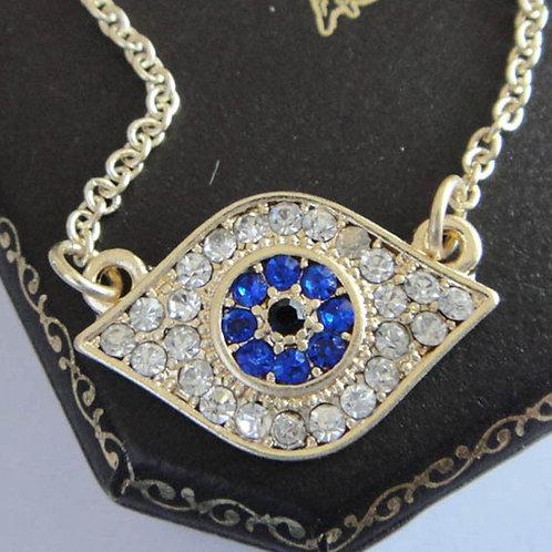 Gold Blue & Clear Rhinestone Evil Eye Necklace
