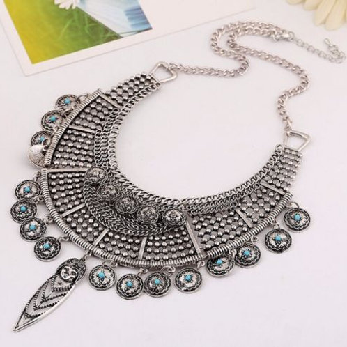 Bohemian Silver Coins Statement Necklace
