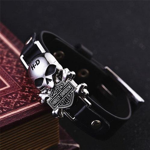 Stainless Steel/Leather  Harley Bracelet