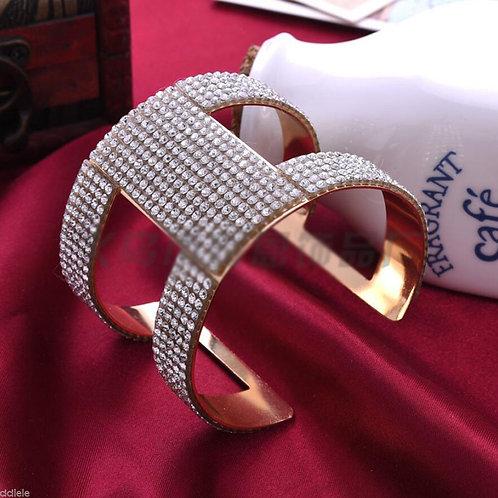 Gold Crystal Rhinestone Cuff Bracelet