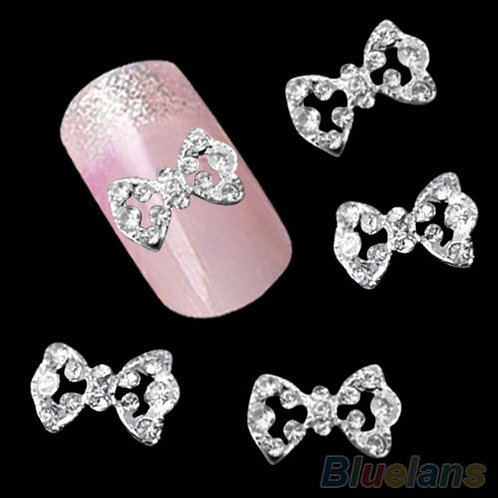 3D Glitter Bow Nail Art Set of 10
