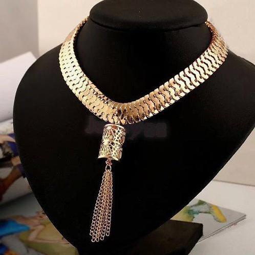 Goldtone Metal Tassel Choker