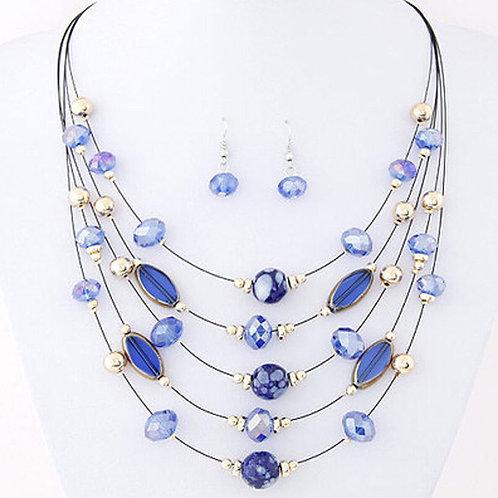 Jewelry Set Crystal Rhinestone Necklace/Earrings