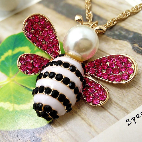 Crystal Lovely Little Bee Pendant Necklace