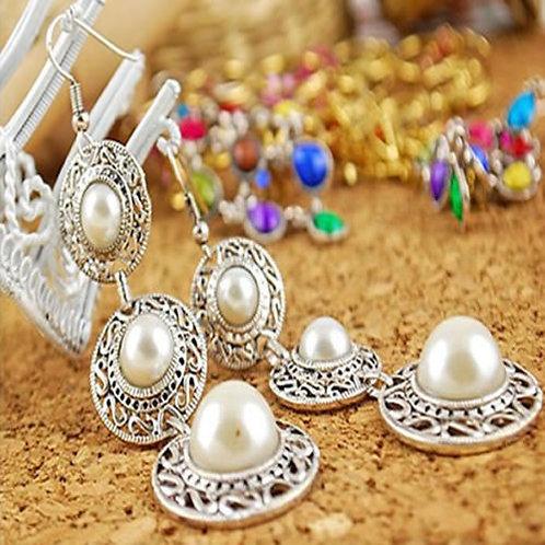 Boho Pearl on Silver Circle Chandelier Earrings