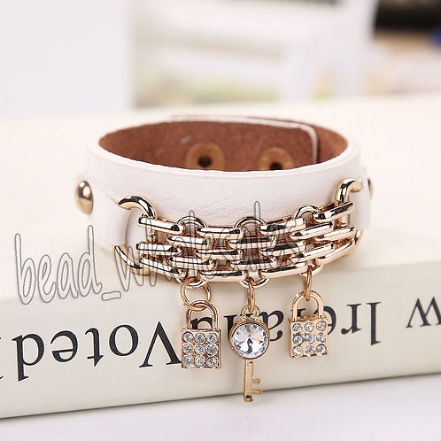 Cute Leather Crystal Charm Bracelet