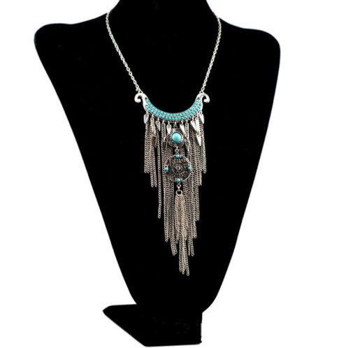 Bohemian Turquoise Tassel Necklace