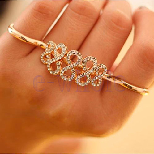 Crystal Infinity 2 Finger Ring