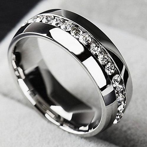 Stainless Steel Rhinestone Wedding Ring