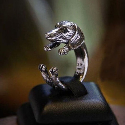 Adjustable Cute Dog Ring-Silver Doxie