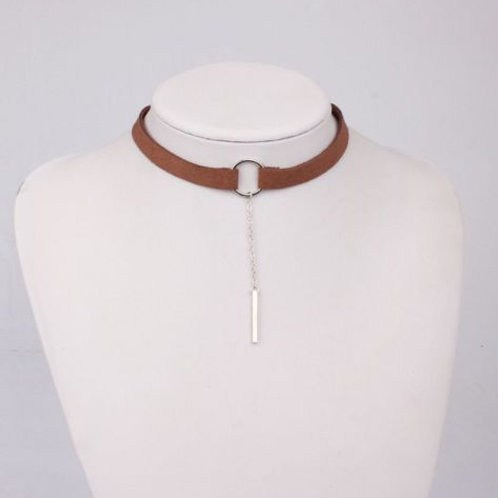 Brown Leather Retro Choker
