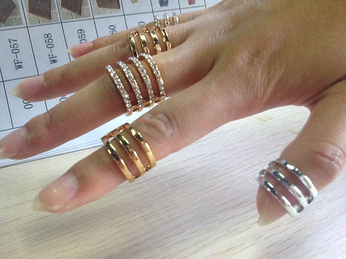 Stacked Crystal Above Knuckle Band