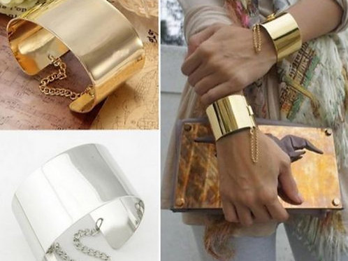 Gold/Silver Wide Metallic Mirrored Cuff Bracelet
