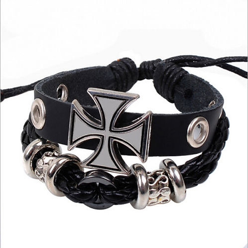 Retro Leather Beaded Wraps Bracelet