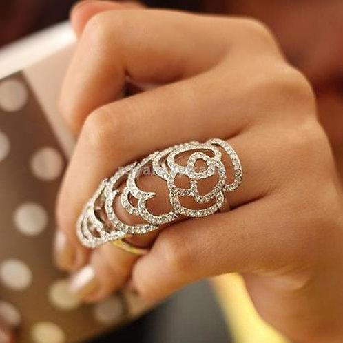 Crystal Rhinestone  Knuckle Hinged Ring