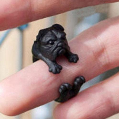 Adjustable Cute Dog Ring Bull Dog Black