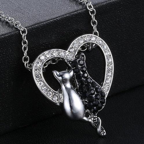 Black White Cute Cat Rhinestone Heart Pendant