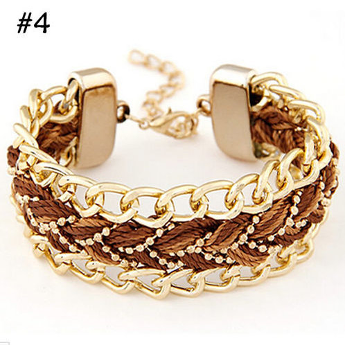 Bohemian Braided Metal Chain Bracelet
