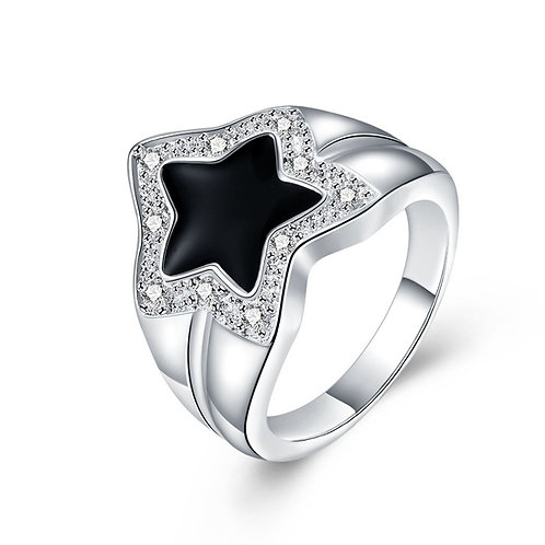 925 Solid Silver Black Shining Star Ring