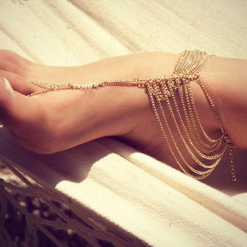 Chic Beach Multi Tassel Toe Ring Anklet
