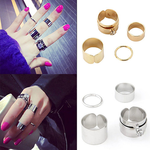 4pcs/Set Crystal Above Knuckle Stacking Bands