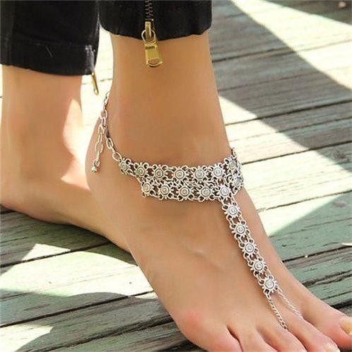 Bohemian Spiral Flower Chunky Anklet