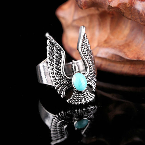 EWF Blue Turquoise Stainless Steel Ring