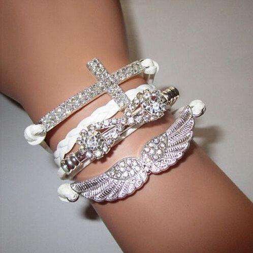 Infinity Leather Angel Wing Cross Bracelet