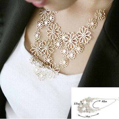 Flower Bib Choker Necklace