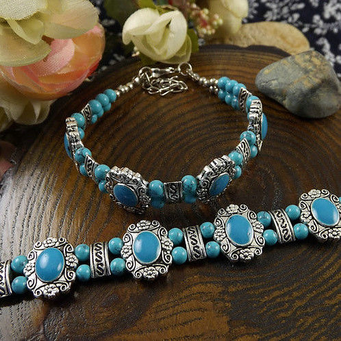 Silver Tibet Turquoise Bracelet