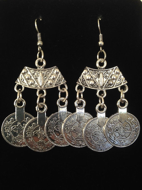 Bohemian Style Silver Coin Earrings