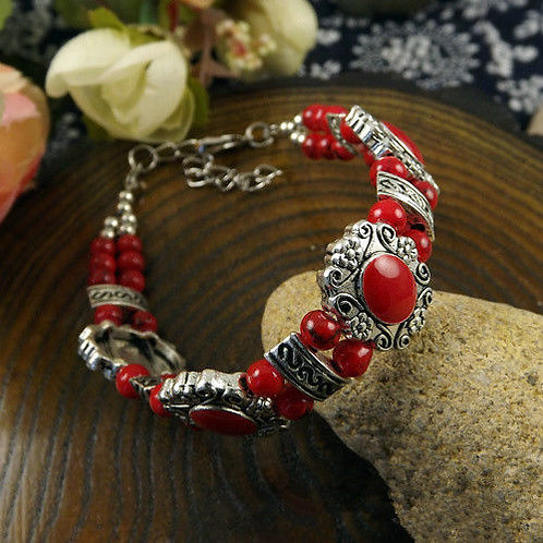 Tibet silver multicolor jade & turquoise bracelet