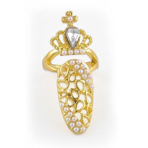 Crown Crystal Finger Tip Ring