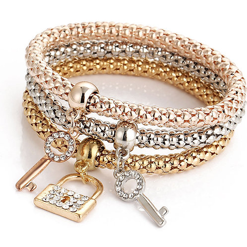 Crystal Pendant Bracelet Bangle 3pcs/Set
