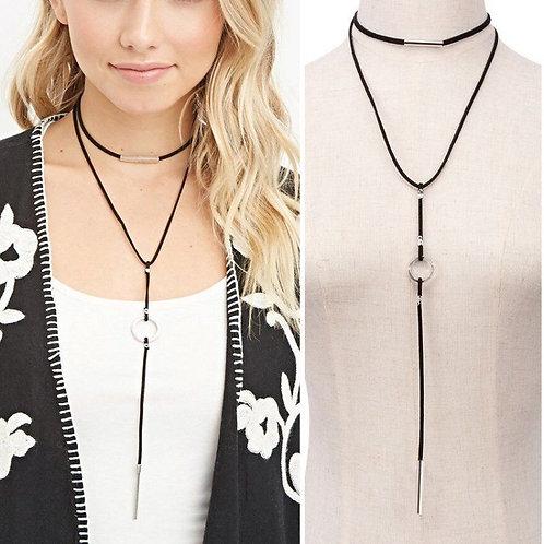 Black Velvet Cord String Wrap Bolo Tie