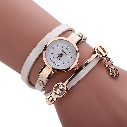 Leather Stainless Bracelet Quartz Wrist Watch