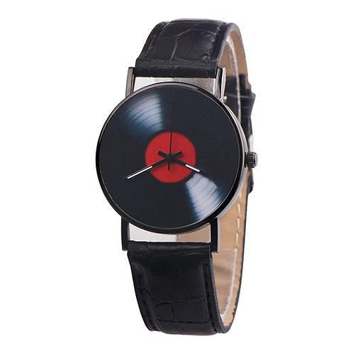 Retro Vinyl Record Faux Leather Analog Quartz Wrist Watch