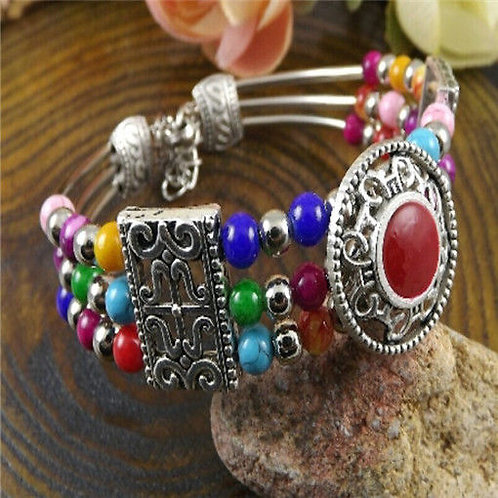 Tibetan silver colored beads bracelet