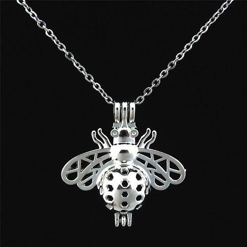 Silver Cage Locket Bee Necklace