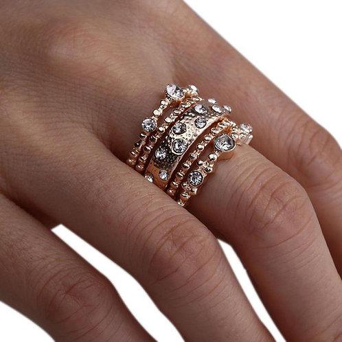 Boho 5Pcs/Set Crystal Rose Gold Stackable Rings