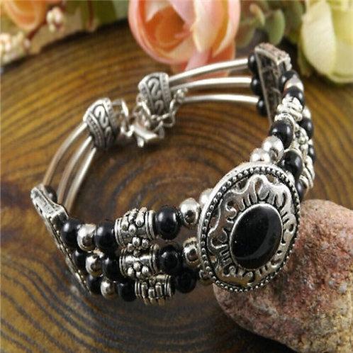 Tibetan silver Black beads bracelet