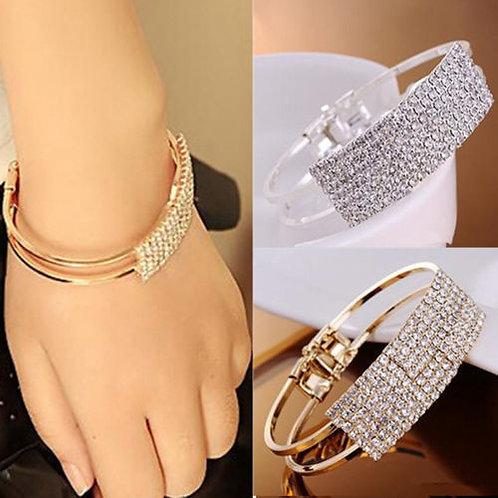 Rhinestone Bangle Cuff Bracelet