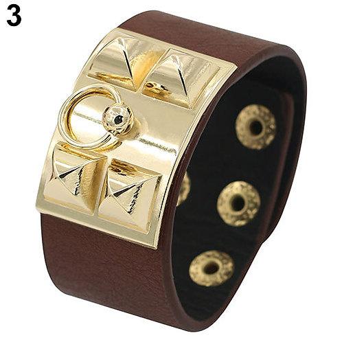 Metal Stud Wristband Leather Bangle