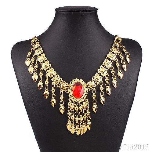 Gold Bib Choker Statement Necklace