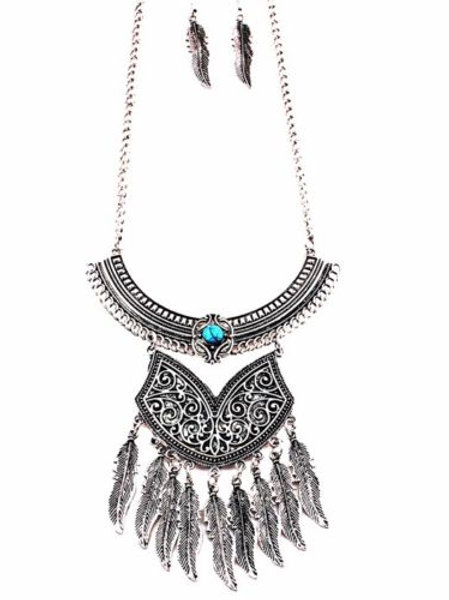 Silver Turquoise Bohemian Necklace Set